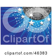 Royalty Free RF Clipart Illustration Of A Shiny Silver Disco Ball With Stars On A Bursting Blue Background by elaineitalia