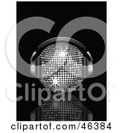 Royalty Free RF Clipart Illustration Of A Shiny Silver Disco Ball Listening To Tunes With Headphones