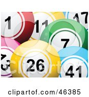 Royalty Free RF Clipart Illustration Of A Background Of Colorful Lottery Bingo Balls by elaineitalia