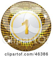 Royalty Free RF Clipart Illustration Of A Shiny Golden Number One Disco Bingo Ball