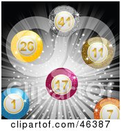 Royalty Free RF Clipart Illustration Of A Burst Of Colorful Disco Lottery Bingo Balls On A Sparkly Gray Background