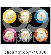 Royalty Free RF Clipart Illustration Of A Line Up Of Sparkling Disco Lottery Balls On Black by elaineitalia