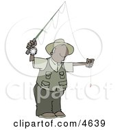 African American Fly Fisherman Getting Ready To Go Fishing Clipart