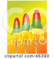 Royalty Free RF Clipart Illustration Of Colorful Rocket Shaped Pop SicklesOn A Gradient Background by elaineitalia