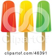 Royalty Free RF Clipart Illustration Of Red Orange And Green Ice Lollies On Popsickle Sticks by elaineitalia