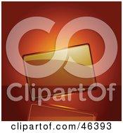 Blank Transparent Glass Plaque On An Orange Background