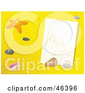 Royalty Free RF Clipart Illustration Of A Blank Message In The Sand With Starfish And Shells by elaineitalia