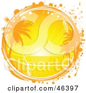 Royalty Free RF Clipart Illustration Of A Tropical Sunset With The Sun Setting Over The Sea With Grunge by elaineitalia