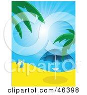 Beach Ball Near A Parasol On A Beach In Paradise