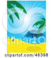 Royalty Free RF Clipart Illustration Of A Beach Ball Near A Parasol On A Beach In Paradise by elaineitalia