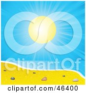 Royalty Free RF Clipart Illustration Of The Sun Shining Brightly On Sea Shells On A Summer Beach