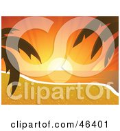 Royalty Free RF Clipart Illustration Of An Orange Sunset On The Horizon As Seen From A Tropical Beach With Palm Trees
