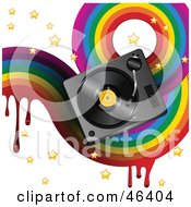 Royalty Free RF Clipart Illustration Of A Funky Music Background With A Dripping Rainbow Stars And A Turntable On White by elaineitalia