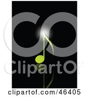 Bright Beam Of Light On Top Of A Green Music Note by elaineitalia