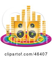 Royalty Free RF Clipart Illustration Of Equalizer Bars Behind Speakers With Cables On A Rainbow Circle