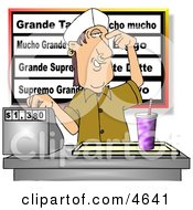 Teenage Boy Working The Cash Register At A Fast Food Mexican Restaurant Clipart by djart