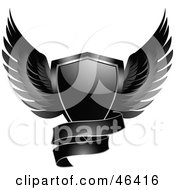 Royalty Free RF Clipart Illustration Of A Black Winged Shield With A Blank Banner by elaineitalia