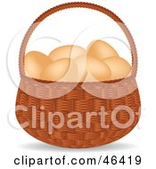 Basket Full Of Organic And Free Range Brown Chicken Eggs