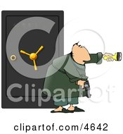 Armed Man Guarding A Safe Full Of Family Jewels Clipart by Dennis Cox