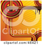 Royalty Free RF Clipart Illustration Of A Funky Orange Retro Rainbow Background With Turns And Circles by elaineitalia