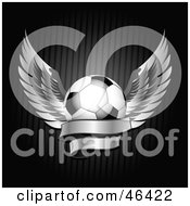 Royalty Free RF Clipart Illustration Of A Winged Soccer Ball With A Blank Banner by elaineitalia