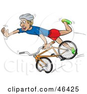 Royalty Free RF Clipart Illustration Of A Surprised Cyclists Bracing Himself For A Crash