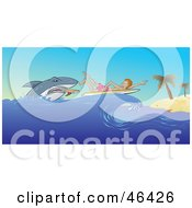 Royalty Free RF Clipart Illustration Of A Scared Surfer Paddling To A Beach While Being Attacked By A Shark by Paulo Resende