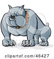 Royalty Free RF Clipart Illustration Of A Menacing Gray Bulldog With Long Claws And A Spiked Collar