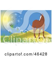 Royalty Free RF Clipart Illustration Of A Lone Horse Near Hills Watching The Wind Blow Dandelions Into The Air
