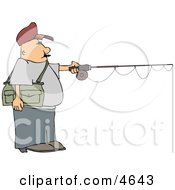 Fly Fisherman Fishing A Lake Clipart