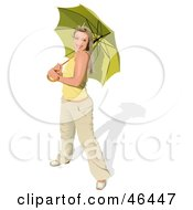 Royalty Free RF Clipart Illustration Of A Happy Smiling Lady Holding An Umbrella by dero