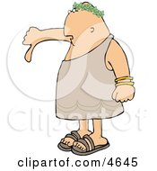 Disagreeing Emperor Pointing His Thumb Down Clipart by djart