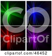 Digital Collage Of Colorful Shining Disco Stage Lights