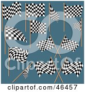 Digital Collage Of Black And White Checkered Racing Flags On Teal