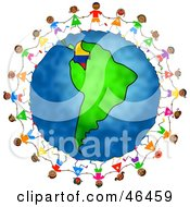 Royalty Free RF Clipart Illustration Of Playful Children Holding Hands And Running Around The Globe Featuring Colombia