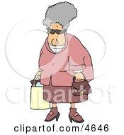 Grandma Carrying A Shopping Bag And Purse Clipart