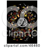 Royalty Free RF Clipart Illustration Of A White Sketched Globe Surrounded By Party Elements by Eugene
