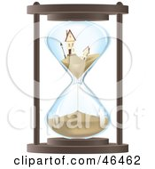 Royalty Free RF Clipart Illustration Of Two Sinking Homes In An Hourglass