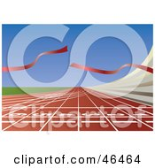 Royalty Free RF Clipart Illustration Of A Broken Ribbon Waving At The End Of A Finish Line On A Track