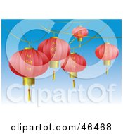 Royalty Free RF Clipart Illustration Of Pink Asian Lanterns With Gold Butterfly Designs Suspended Over A Blue Sky