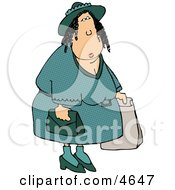 Overweight Woman Shopping Around Clipart by djart