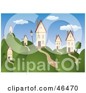 Royalty Free RF Clipart Illustration Of A Beautiful Rolling Hill Landscape With Homes Under A Blue Sky by Eugene