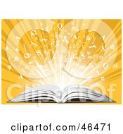 Royalty Free RF Clipart Illustration Of Knowledge Bursting From An Open Book On A Yellow Background by Eugene #COLLC46471-0054