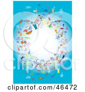 Royalty Free RF Clipart Illustration Of A Circle Of Party Elements Around A Blank White Center On Blue by Eugene