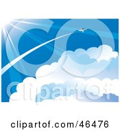 Royalty Free RF Clipart Illustration Of A Plane Flying Through The Vast Blue Sky Above The Clouds And In The Sun Light by Eugene #COLLC46476-0054