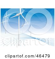 Royalty Free RF Clipart Illustration Of A Hillside Of White Turbines Generating Energy At A Wind Farm by Eugene