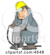 Vibrating Worker Operating A Portable Jackhammer Clipart