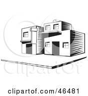Royalty Free RF Clipart Illustration Of A Black And White Townhouse On A Street Corner
