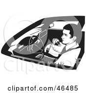 Royalty Free RF Clipart Illustration Of A Black And White Undercover Cop Or Security Guard Using A CB Radio by David Rey