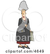 Elderly Woman Carrying A Purse And Shopping Bag